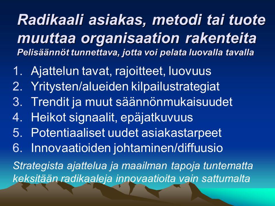 Radikaali asiakas, metodi tai tuote muuttaa organisaation rakenteita Pelisäännöt tunnettava, jotta voi pelata luovalla tavalla