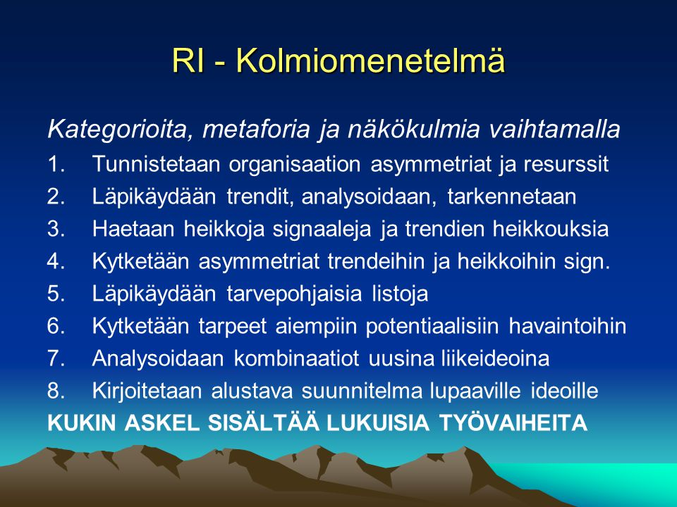 RI - Kolmiomenetelmä Kategorioita, metaforia ja näkökulmia vaihtamalla