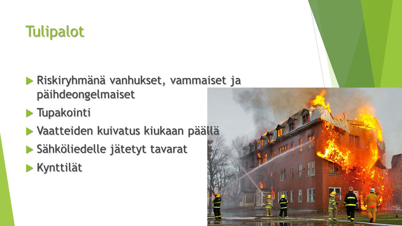 Tulipalot Riskiryhmänä vanhukset, vammaiset ja päihdeongelmaiset