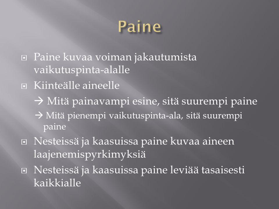 Paine Paine kuvaa voiman jakautumista vaikutuspinta-alalle