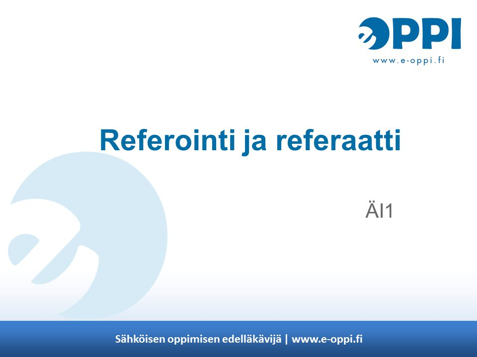 Referointi ja referaatti