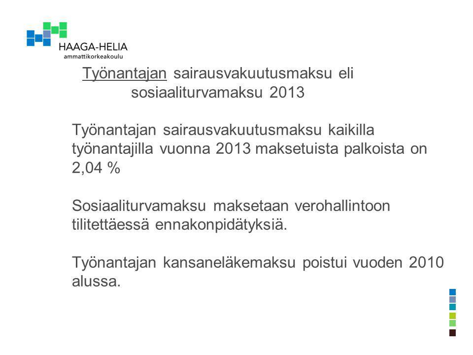 Työnantajan sairausvakuutusmaksu eli sosiaaliturvamaksu 2013