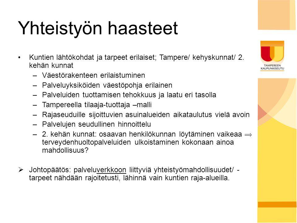 Yhteistyön haasteet Kuntien lähtökohdat ja tarpeet erilaiset; Tampere/ kehyskunnat/ 2. kehän kunnat.