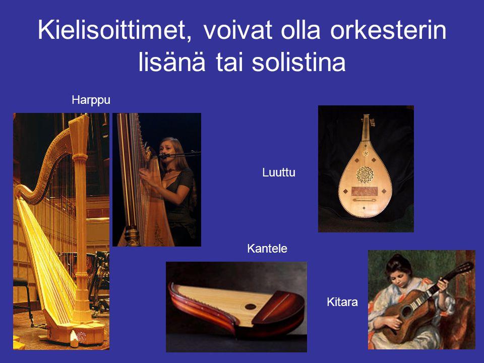 Kielisoittimet, voivat olla orkesterin lisänä tai solistina