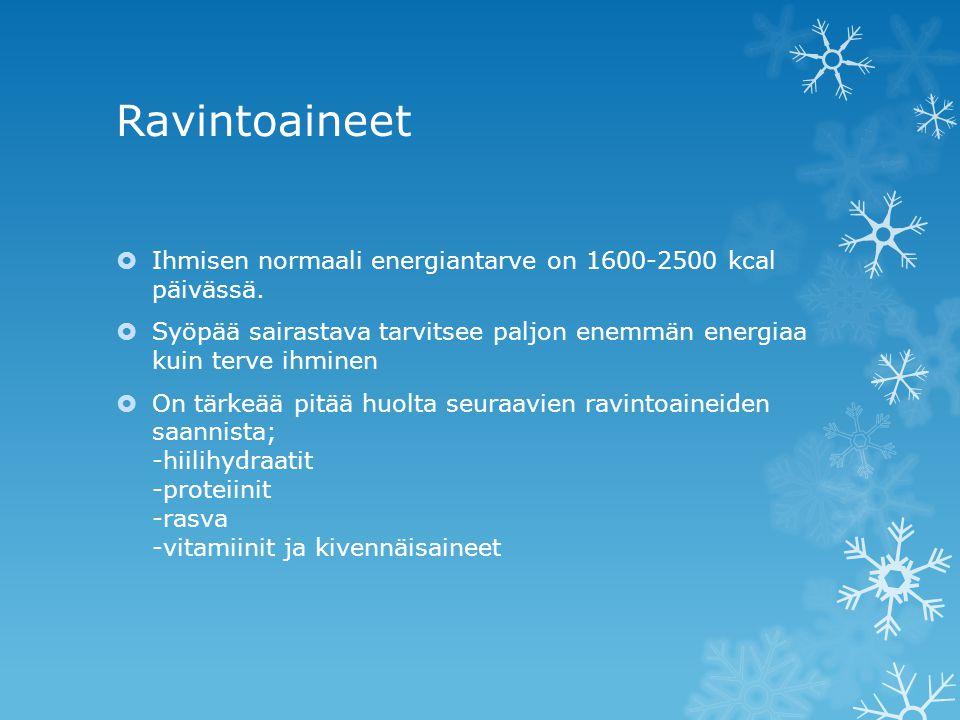 Ravintoaineet Ihmisen normaali energiantarve on 1600-2500 kcal päivässä. Syöpää sairastava tarvitsee paljon enemmän energiaa kuin terve ihminen.