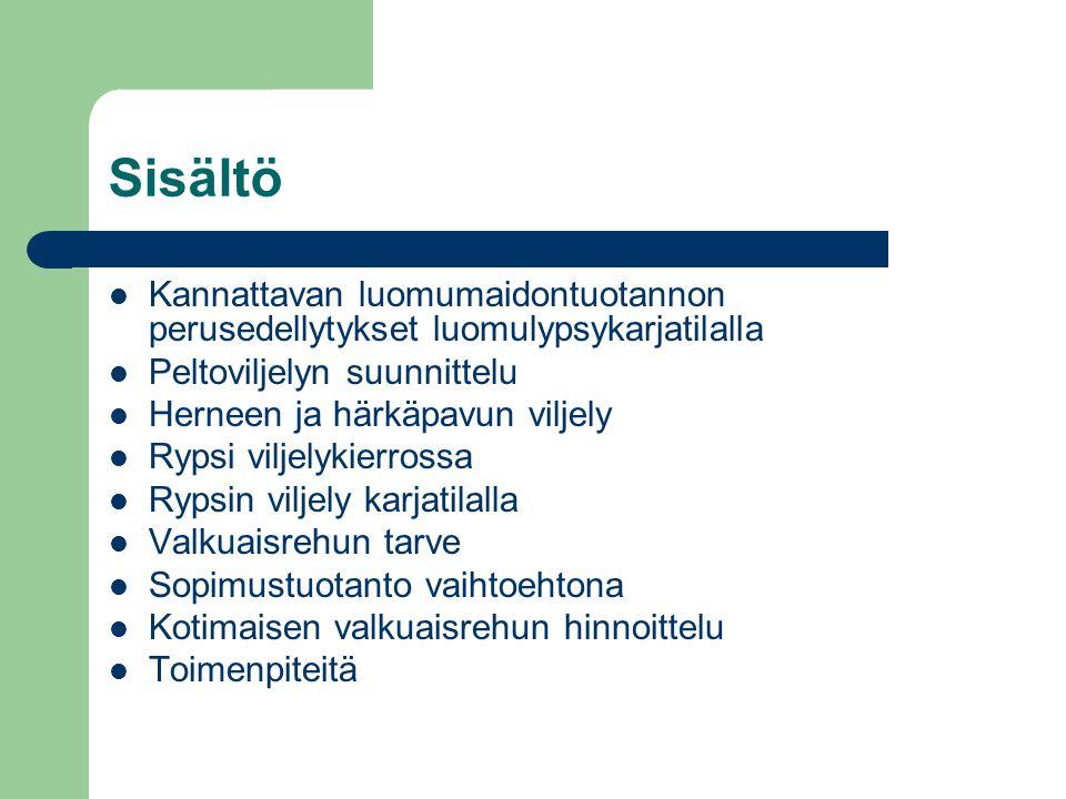 Sisältö Kannattavan luomumaidontuotannon perusedellytykset luomulypsykarjatilalla. Peltoviljelyn suunnittelu.