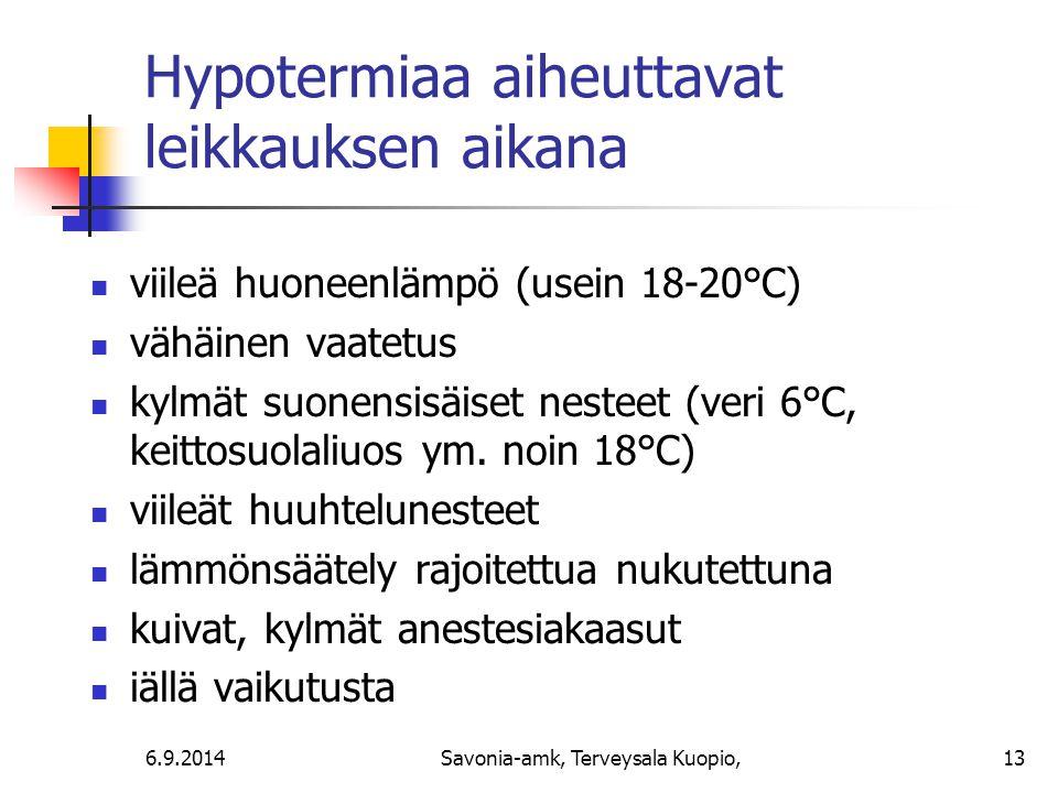 Hypotermiaa aiheuttavat leikkauksen aikana