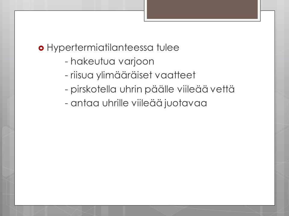 Hypertermiatilanteessa tulee