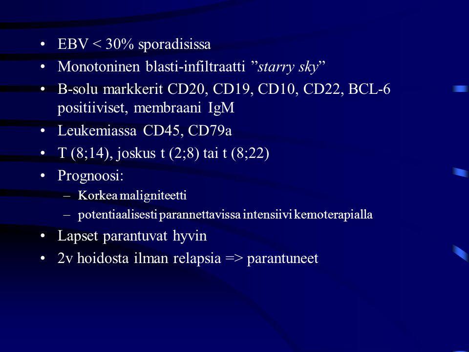 EBV < 30% sporadisissa Monotoninen blasti-infiltraatti starry sky
