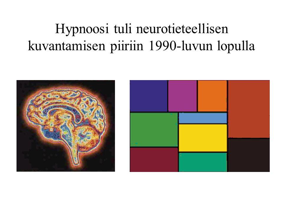 Hypnoosi tuli neurotieteellisen kuvantamisen piiriin 1990-luvun lopulla