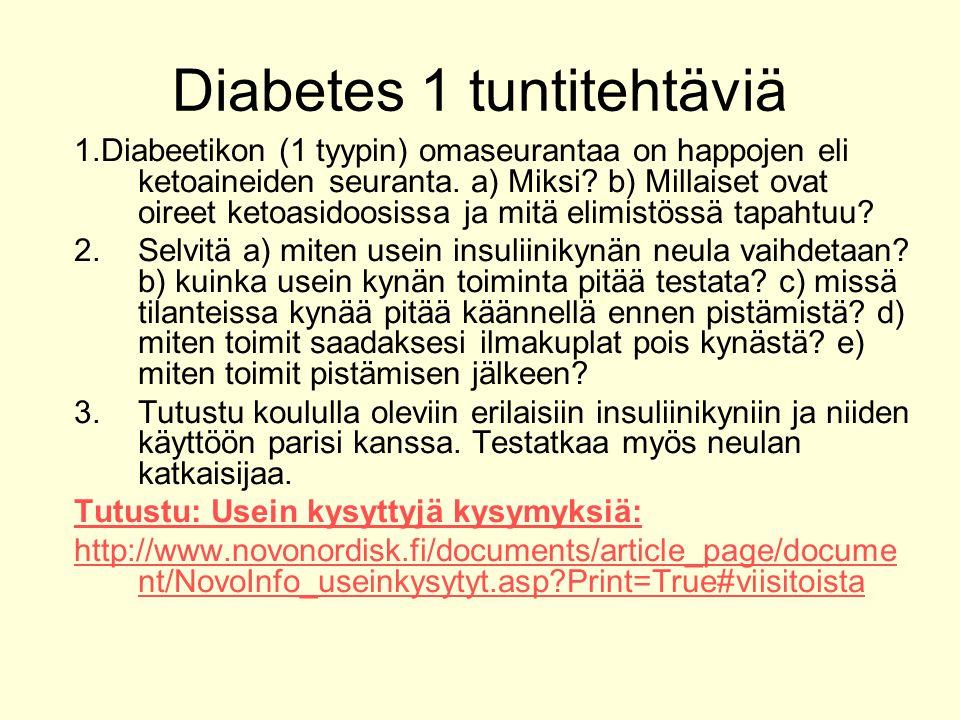 Diabetes 1 tuntitehtäviä