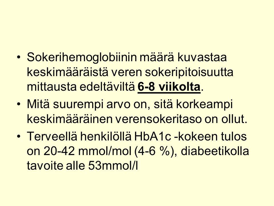 Sokerihemoglobiinin määrä kuvastaa keskimääräistä veren sokeripitoisuutta mittausta edeltäviltä 6-8 viikolta.
