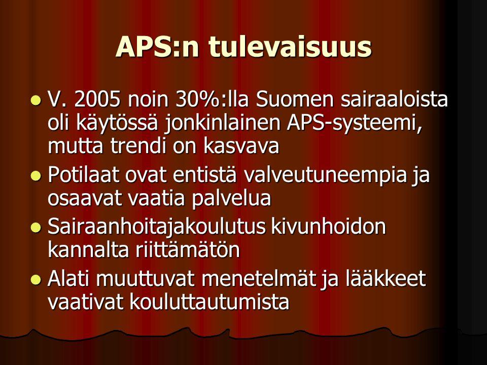 APS:n tulevaisuus V. 2005 noin 30%:lla Suomen sairaaloista oli käytössä jonkinlainen APS-systeemi, mutta trendi on kasvava.