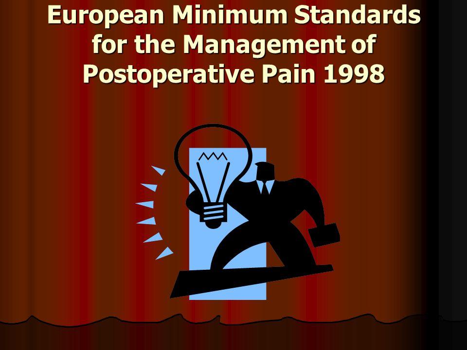 European Minimum Standards for the Management of Postoperative Pain 1998