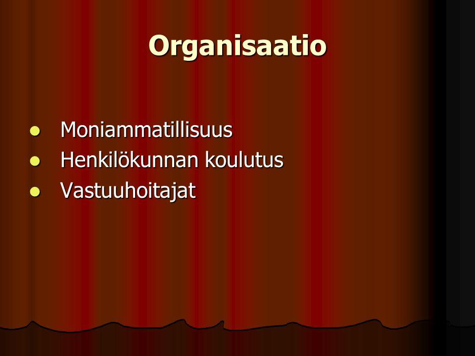 Organisaatio Moniammatillisuus Henkilökunnan koulutus Vastuuhoitajat