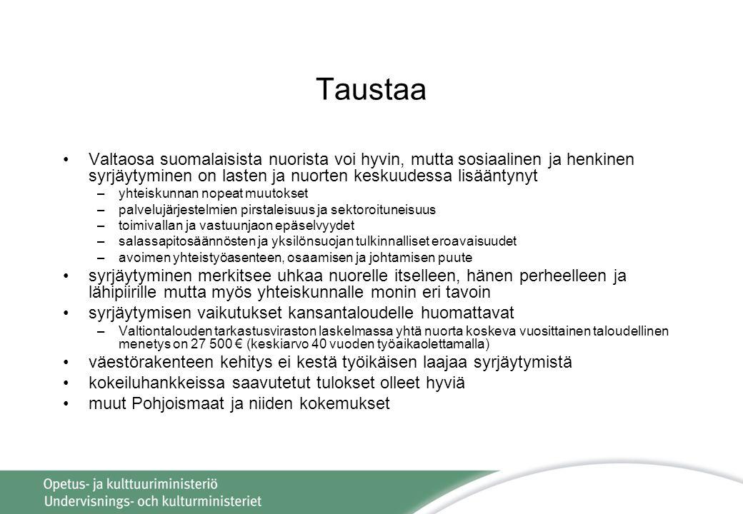 Taustaa Valtaosa suomalaisista nuorista voi hyvin, mutta sosiaalinen ja henkinen syrjäytyminen on lasten ja nuorten keskuudessa lisääntynyt.