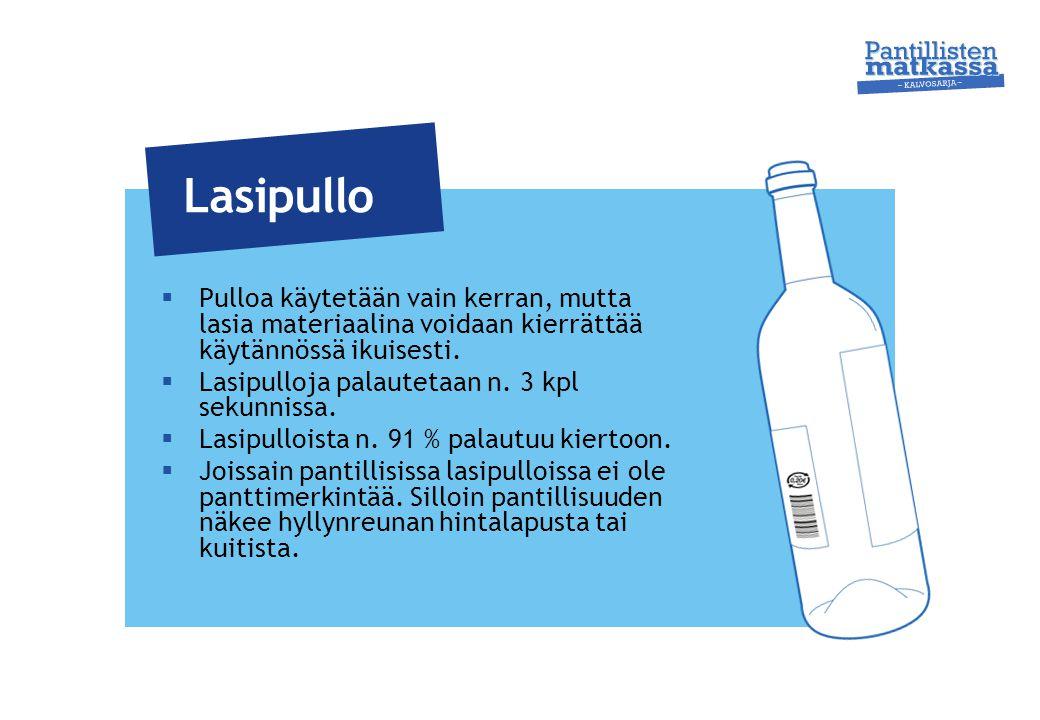 Lasipullo Pulloa käytetään vain kerran, mutta lasia materiaalina voidaan kierrättää käytännössä ikuisesti.