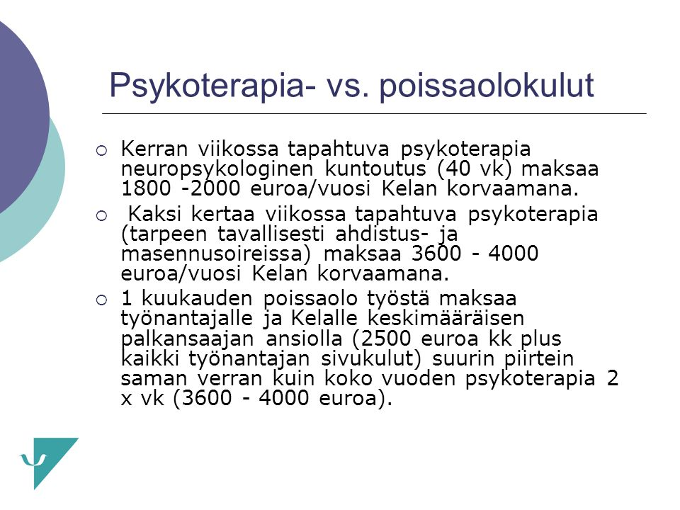 Psykoterapia- vs. poissaolokulut