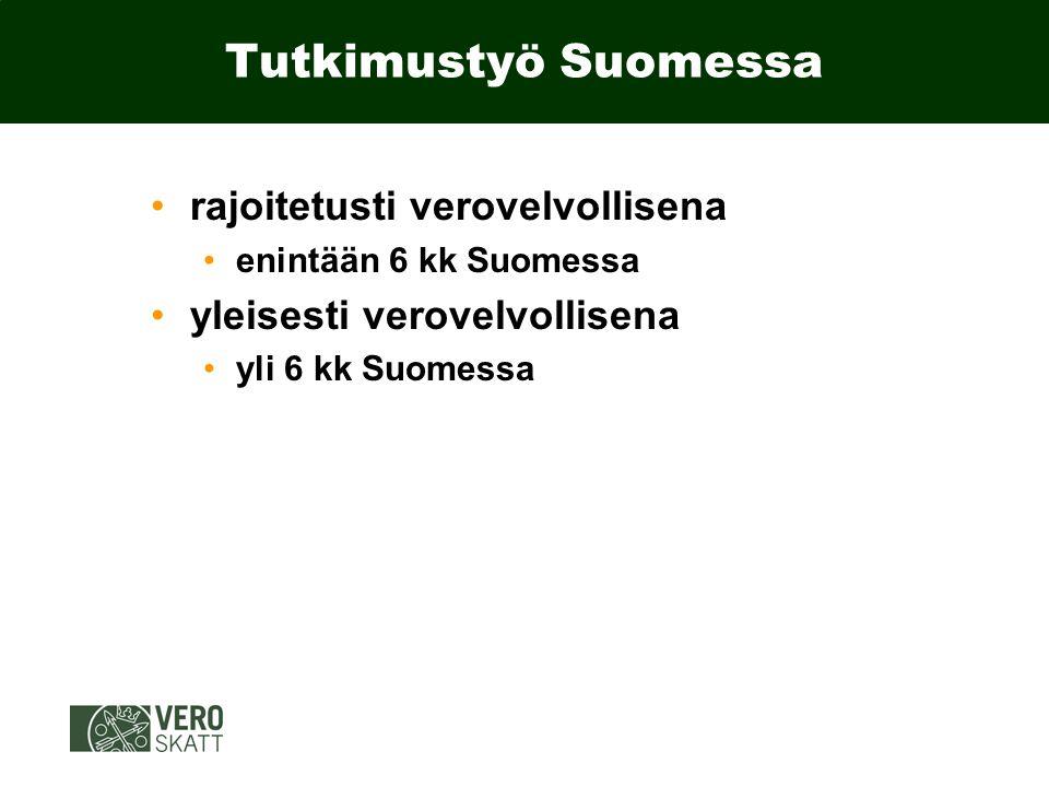 Tutkimustyö Suomessa rajoitetusti verovelvollisena