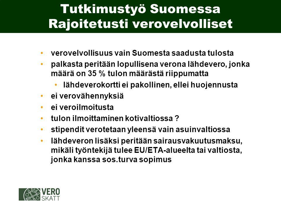 Tutkimustyö Suomessa Rajoitetusti verovelvolliset