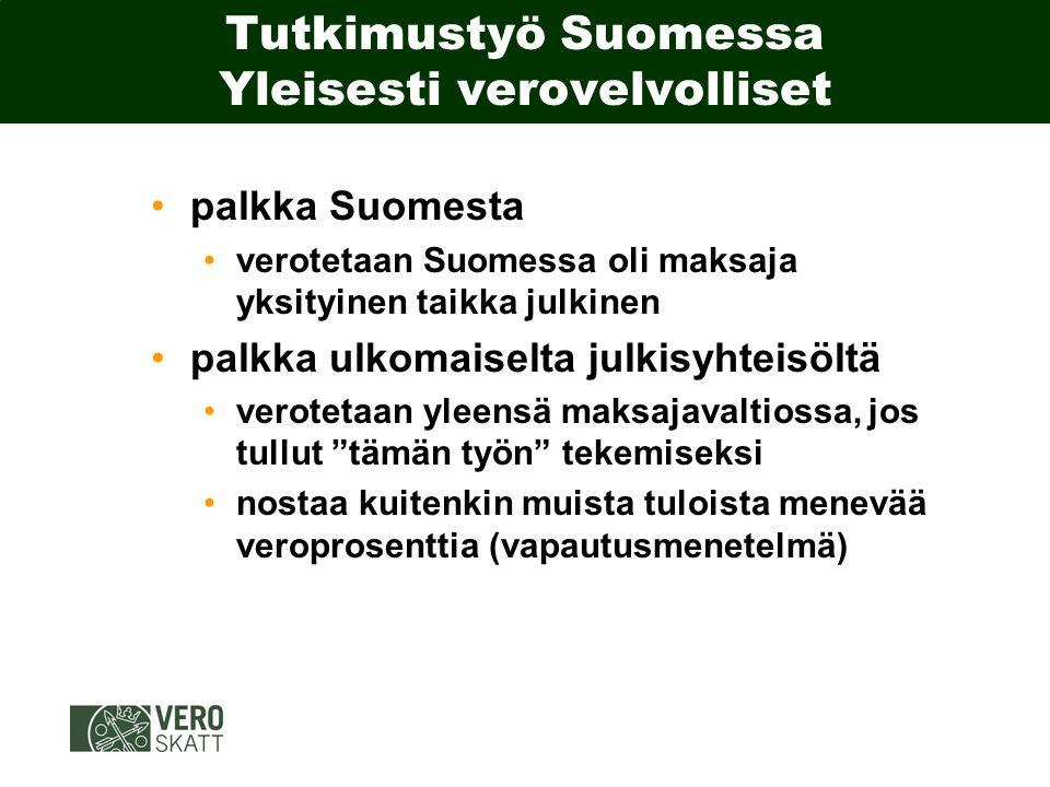 Tutkimustyö Suomessa Yleisesti verovelvolliset