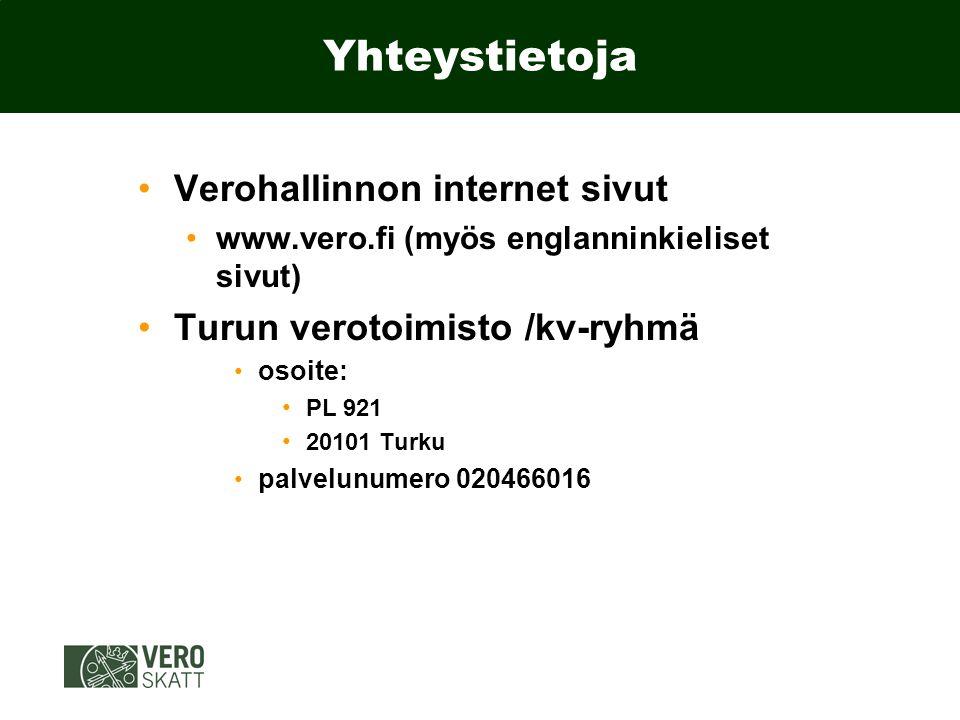 Yhteystietoja Verohallinnon internet sivut