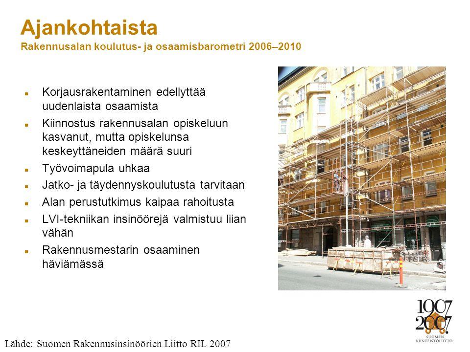 Ajankohtaista Rakennusalan koulutus- ja osaamisbarometri 2006–2010