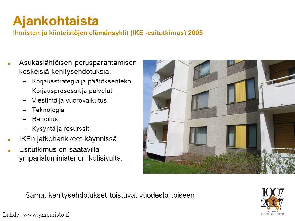 Ajankohtaista Ihmisten ja kiinteistöjen elämänsyklit (IKE -esitutkimus) 2005