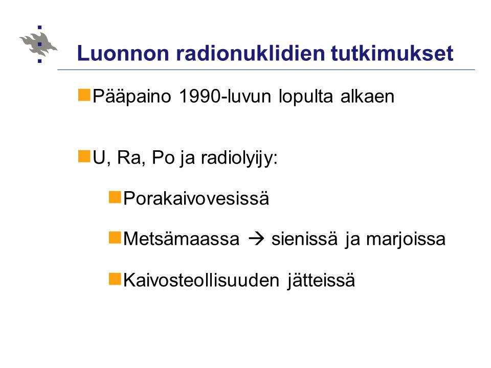Luonnon radionuklidien tutkimukset