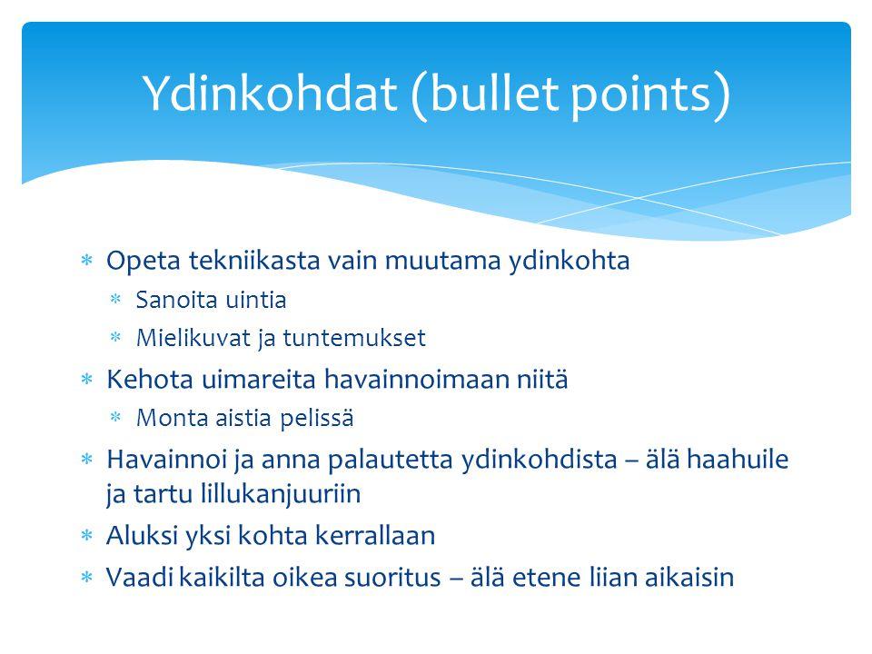 Ydinkohdat (bullet points)