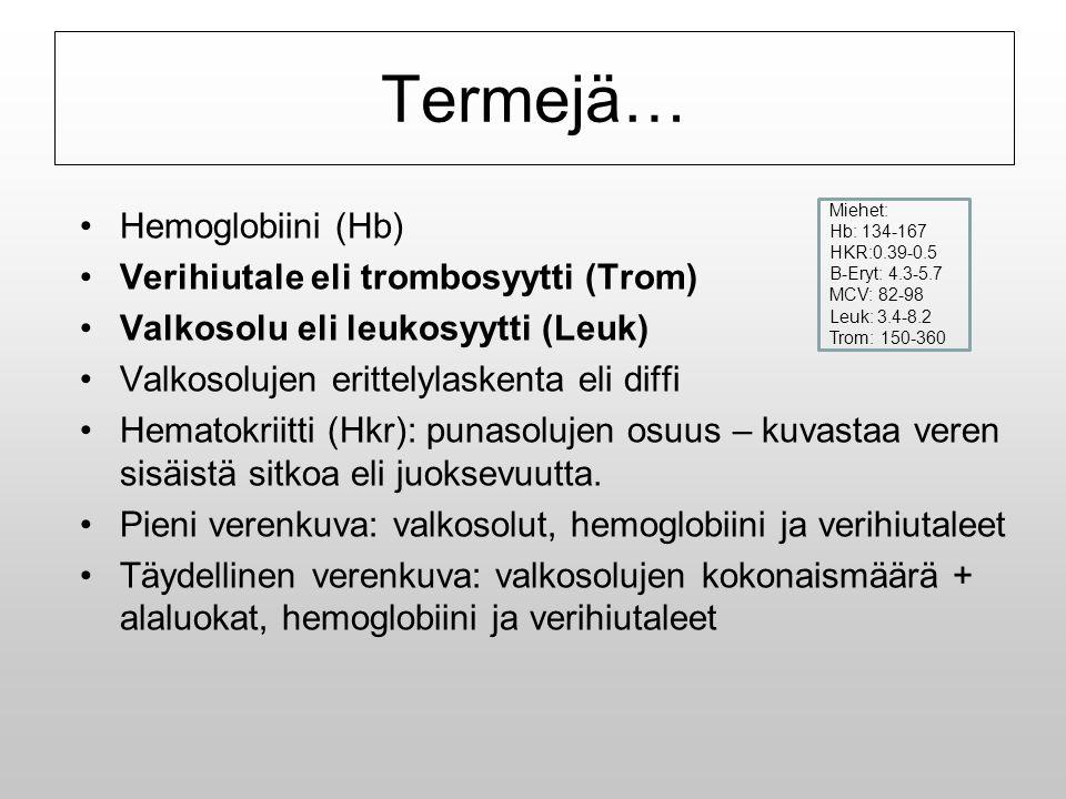 Termejä… Hemoglobiini (Hb) Verihiutale eli trombosyytti (Trom)