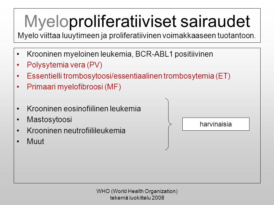 WHO (World Health Organization) tekemä luokittelu 2008