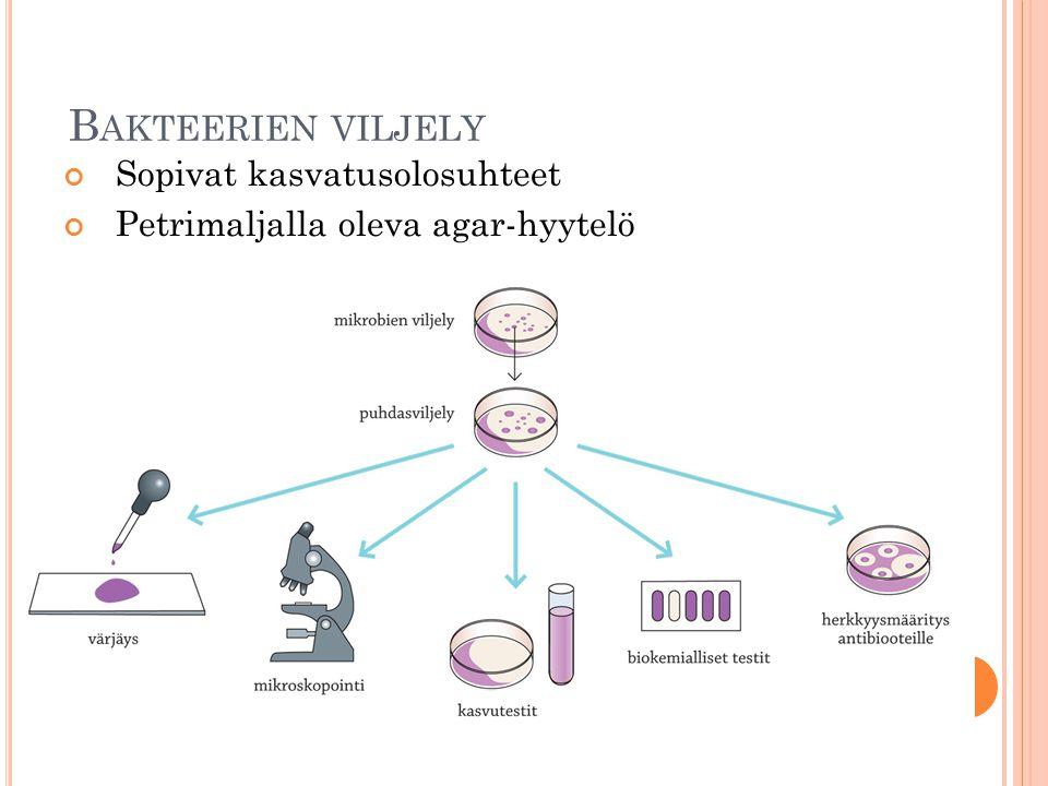 Bakteerien viljely Sopivat kasvatusolosuhteet
