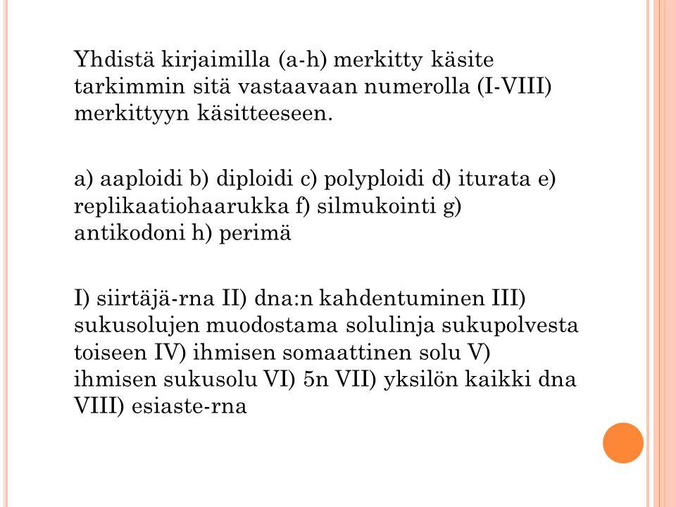 Yhdistä kirjaimilla (a-h) merkitty käsite tarkimmin sitä vastaavaan numerolla (I-VIII) merkittyyn käsitteeseen.