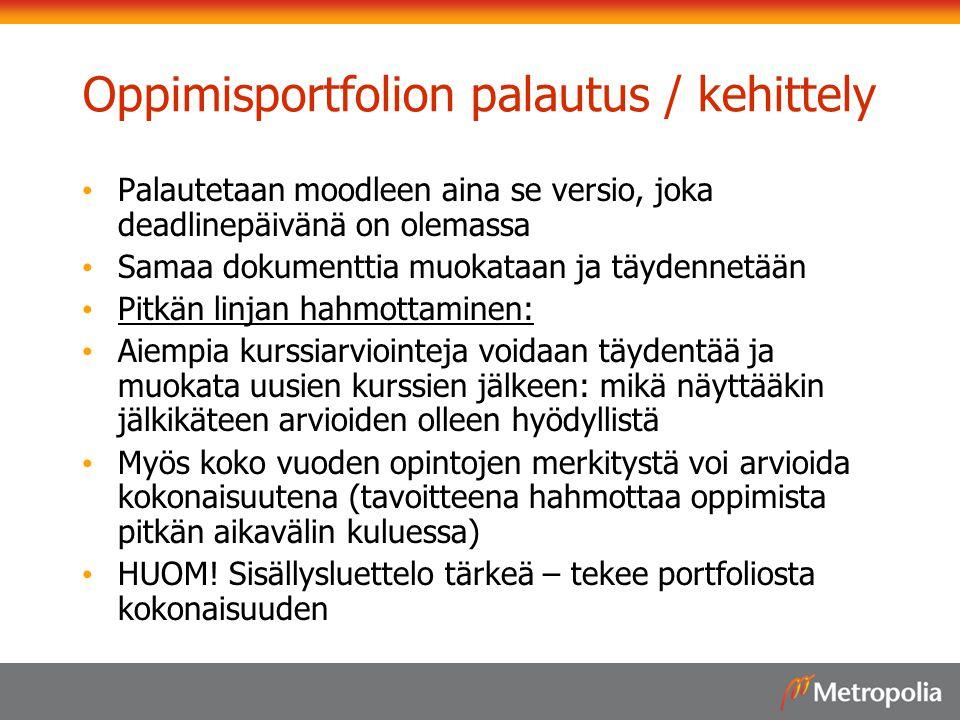 Oppimisportfolion palautus / kehittely