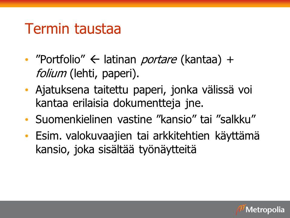 Termin taustaa Portfolio  latinan portare (kantaa) + folium (lehti, paperi).