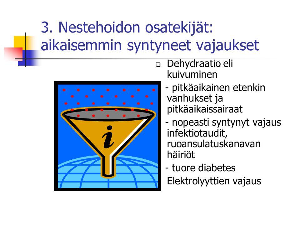 3. Nestehoidon osatekijät: aikaisemmin syntyneet vajaukset