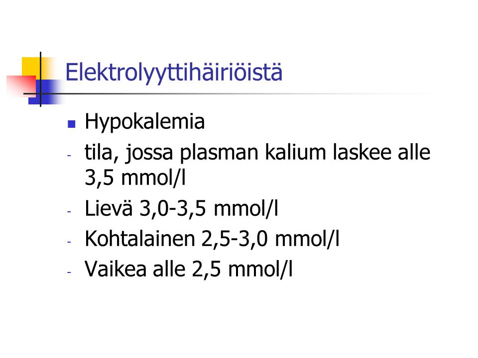 Elektrolyyttihäiriöistä