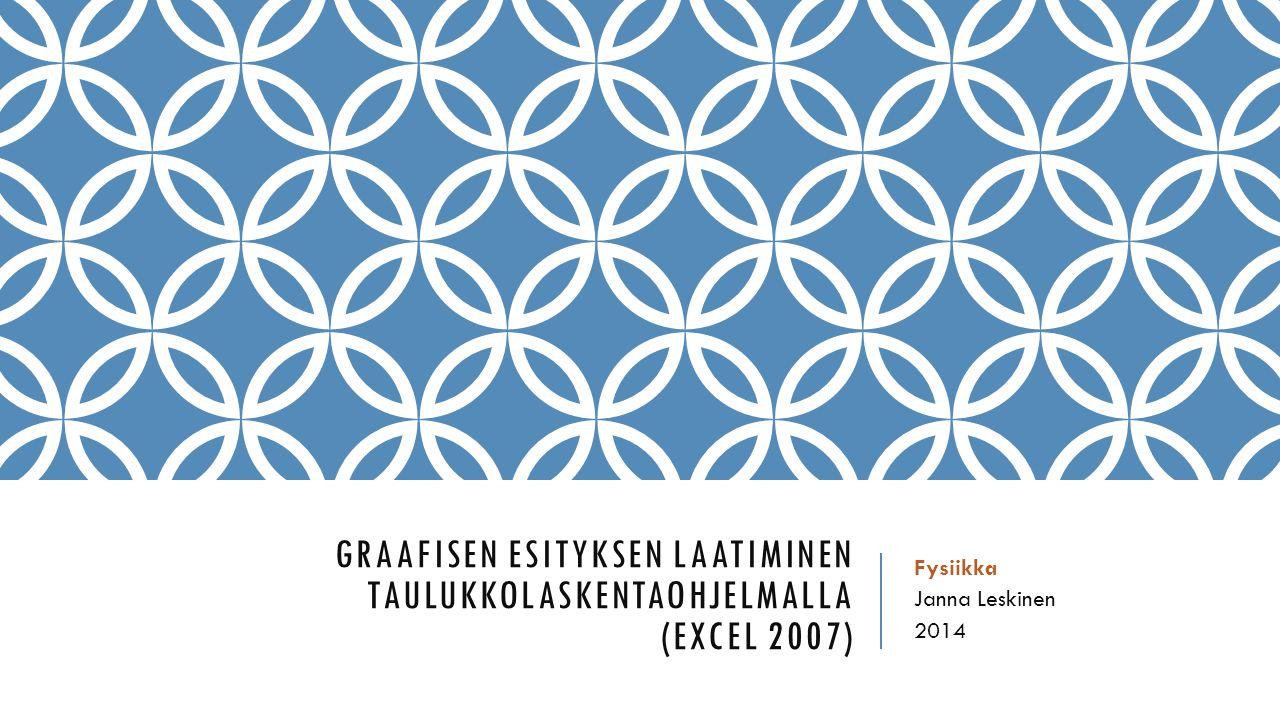 Graafisen esityksen laatiminen taulukkolaskentaohjelmalla (excel 2007)