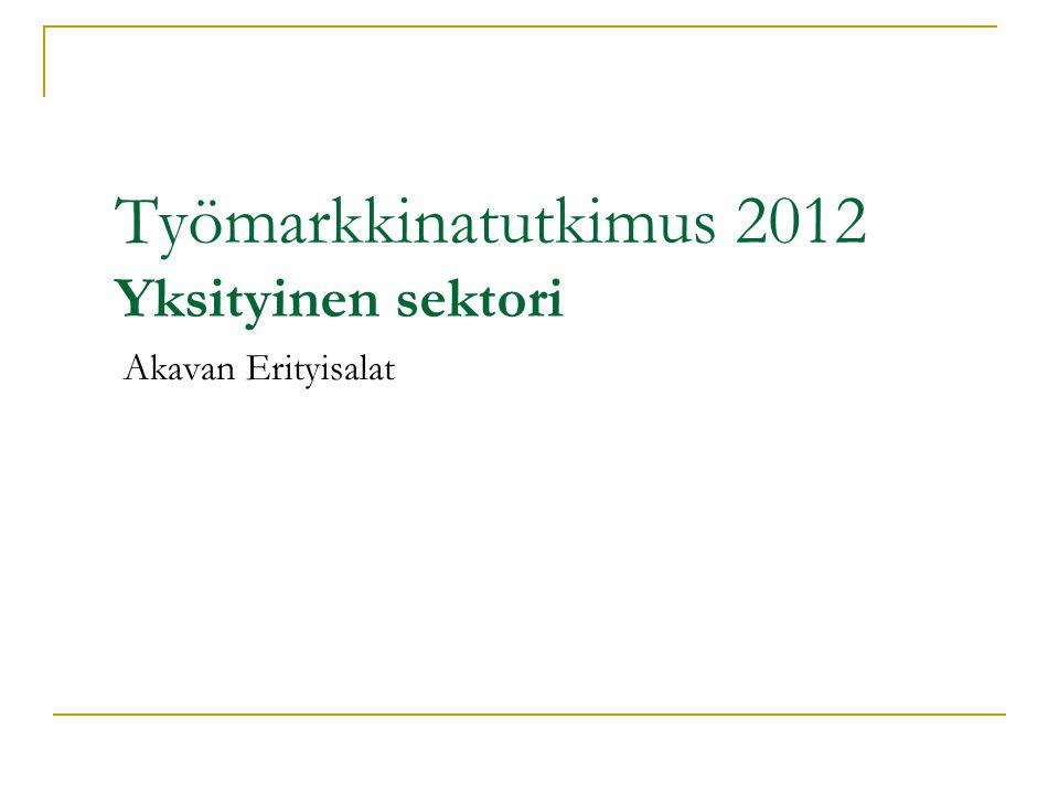 Työmarkkinatutkimus 2012 Yksityinen sektori
