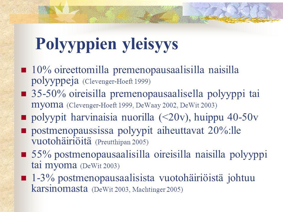 Polyyppien yleisyys 10% oireettomilla premenopausaalisilla naisilla polyyppeja (Clevenger-Hoeft 1999)