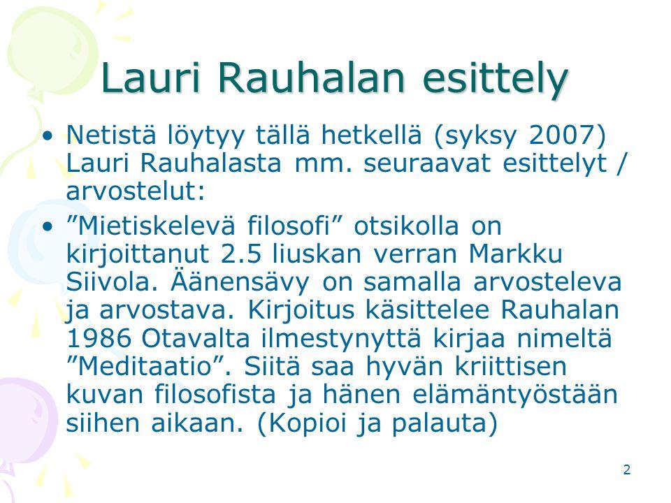 Lauri Rauhalan esittely