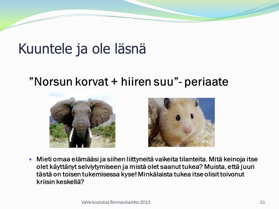 Kuuntele ja ole läsnä Norsun korvat + hiiren suu - periaate