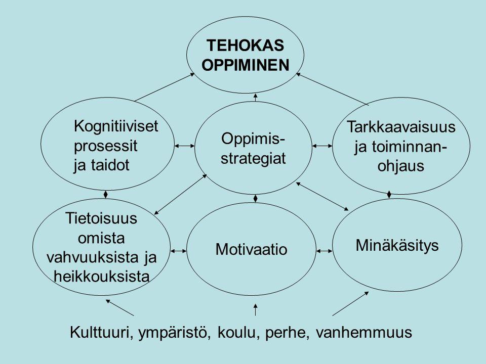 TEHOKAS OPPIMINEN. Tarkkaavaisuus. ja toiminnan- ohjaus. Oppimis- strategiat. Kognitiiviset prosessit.