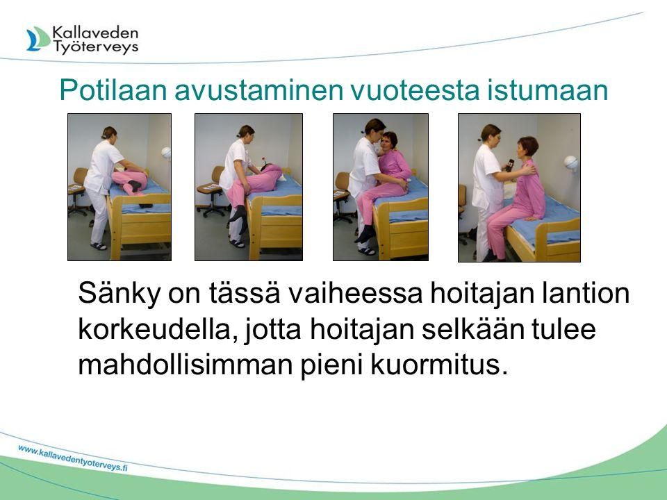 Potilaan avustaminen vuoteesta istumaan