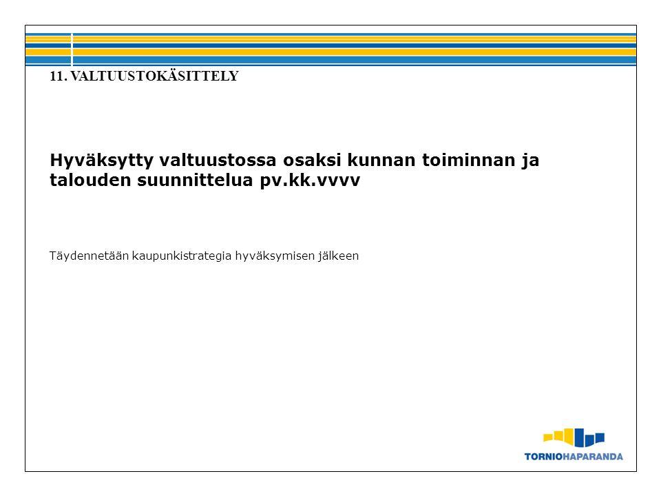 11. VALTUUSTOKÄSITTELY Hyväksytty valtuustossa osaksi kunnan toiminnan ja talouden suunnittelua pv.kk.vvvv.