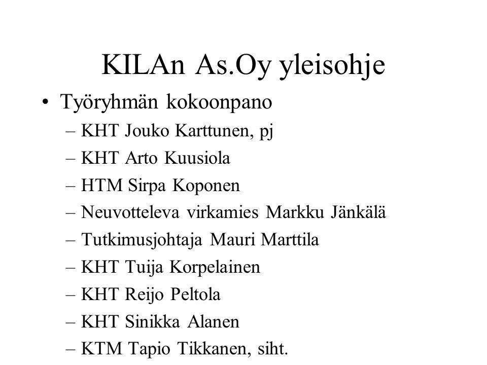 KILAn As.Oy yleisohje Työryhmän kokoonpano KHT Jouko Karttunen, pj