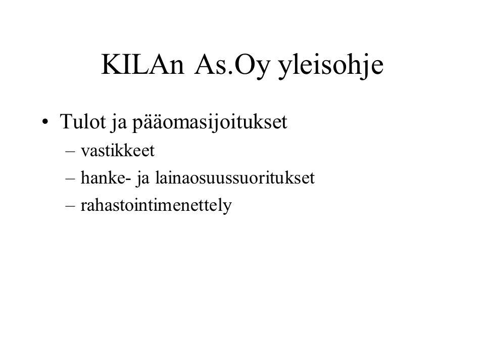 KILAn As.Oy yleisohje Tulot ja pääomasijoitukset vastikkeet