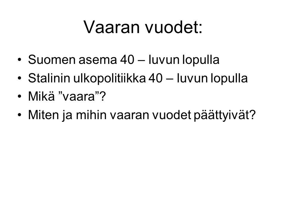Vaaran vuodet: Suomen asema 40 – luvun lopulla