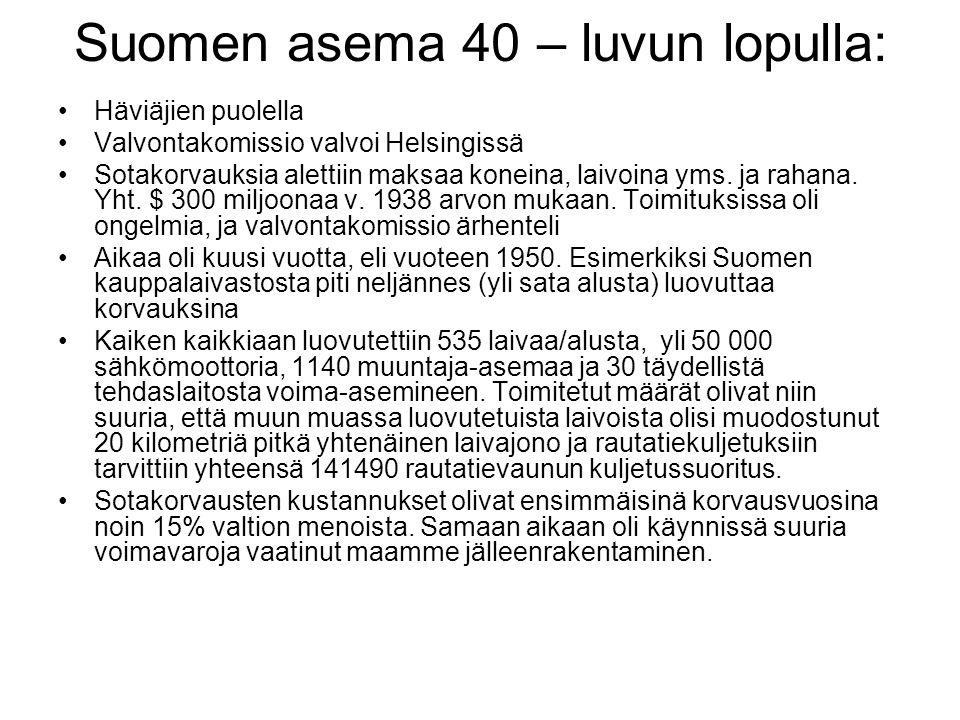 Suomen asema 40 – luvun lopulla: